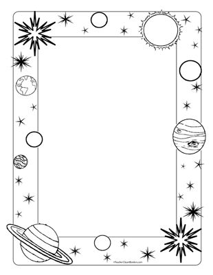 Space/Planets- Portrait Blank - Teacher Clipart Borders