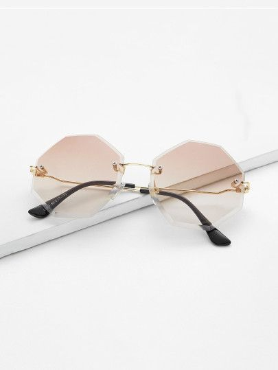8ed4e99f551 Shop Tinted Lens Rimless Sunglasses online. SheIn offers Tinted Lens Rimless  Sunglasses   more to