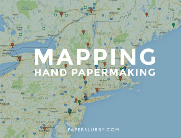 Map for hand papermaking studios, mills, schools, and museums.