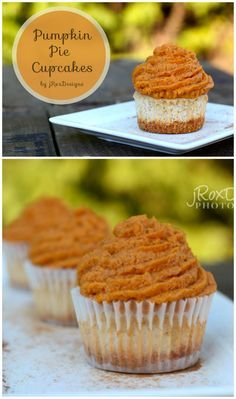 Pumpkin Pie Cupcakes recipe. These are simply delicious! Pumpkin pie in your hand. Fall dessert