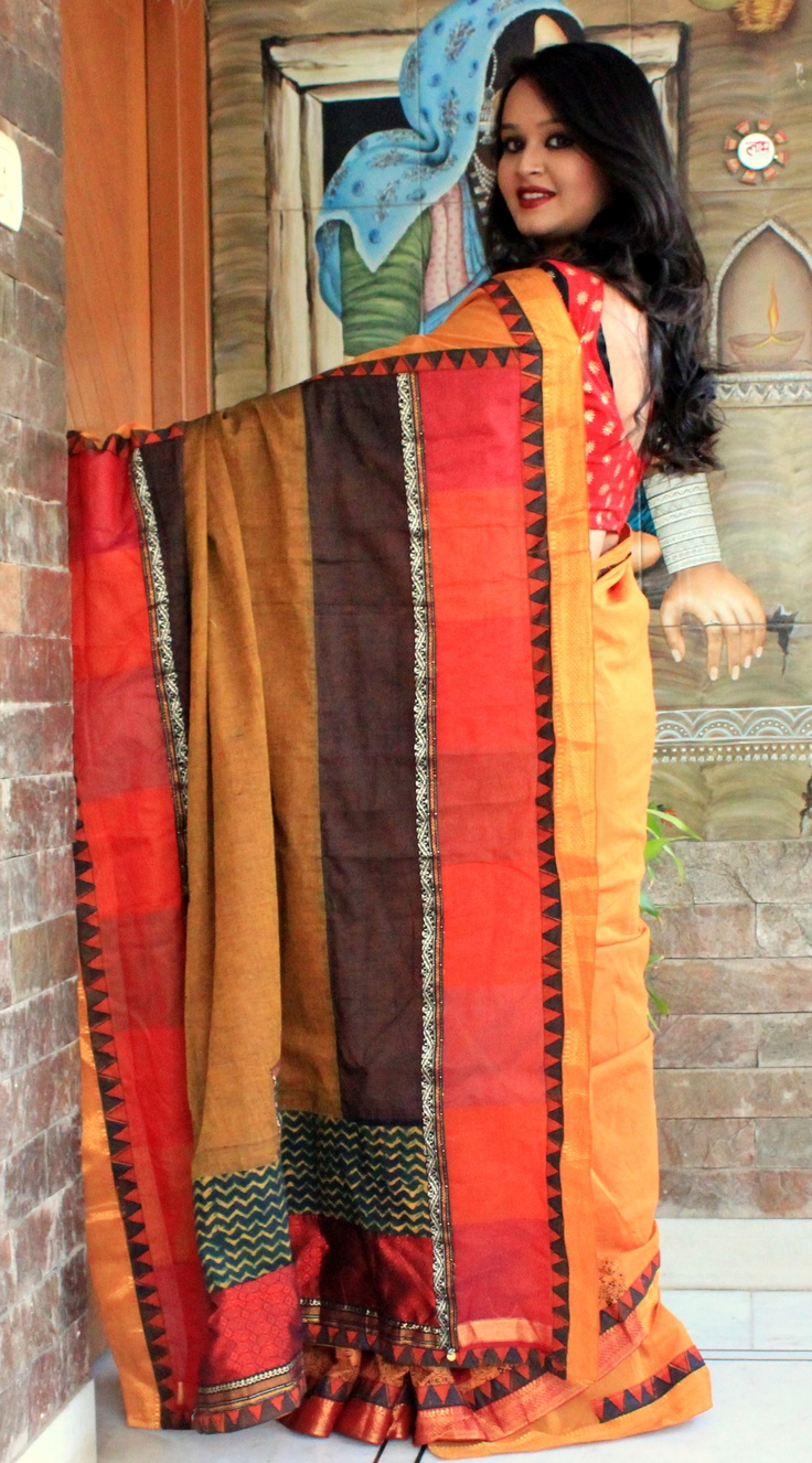 INR 6440  Indian Summer  swetabarupal@gmail.com for purchase this cotton saree with a chanderi-mul-khand-silk pallu with mangalgiri and kalamkari borders