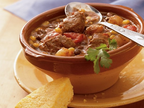 Mexican Beef Stew.. It's amazing.. I however use any brand of tomatoes that are on sale at the time.. and I eyeball my chili powder.. I also add in between 3-4 taco packets to give it more flavor.. this is great!! -Cass