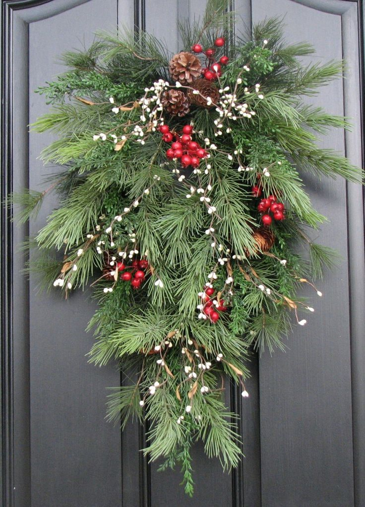 Christmas door (or on a smaller scale, mailbox) decor: Christmas Pine, Berries and Pinecones Swag. It's all faux and available on Etsy, or DIY.