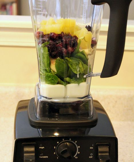 Healthy and tasty! 1C vanilla greek yogurt, 1C blueberries, handful spinach, prefer 1/2 banana. (add strawberries or other fruit; may mix in green tea ice cubes)