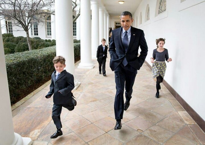 Cool As Hell... Running With His Hands In His Pockets.... President Barack Obama... Denis McDonough Kids...