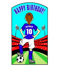 Click on Soccer Girl birthday lawn sign. #party #ideas http://www.hellopink.ca/lawncards.php# Rent this sign for only $90.00. Toronto and surrounding areas only.