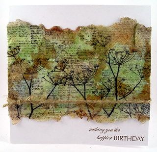 † paper coloring technique - great for altered art - using stamping, tissue paper, and watered down glue  - from outside the box - LOVE the look!