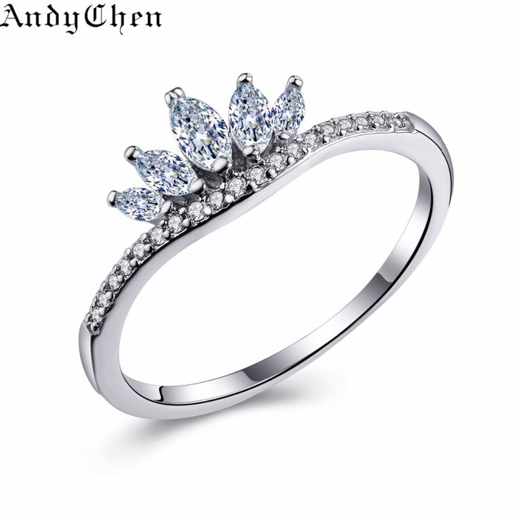 AndyChen Luksusowe Korona Posrebrzane Pierścionki Zaręczynowe Dla Kobiet Bijoux Bague Femme Pierścień Kryształ Biżuteria Ślubna ASR322