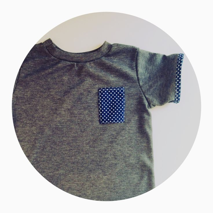 Charcoal+shirt+with+white+spot+pocket+and+sleeve+trim.Handmade+with+love.