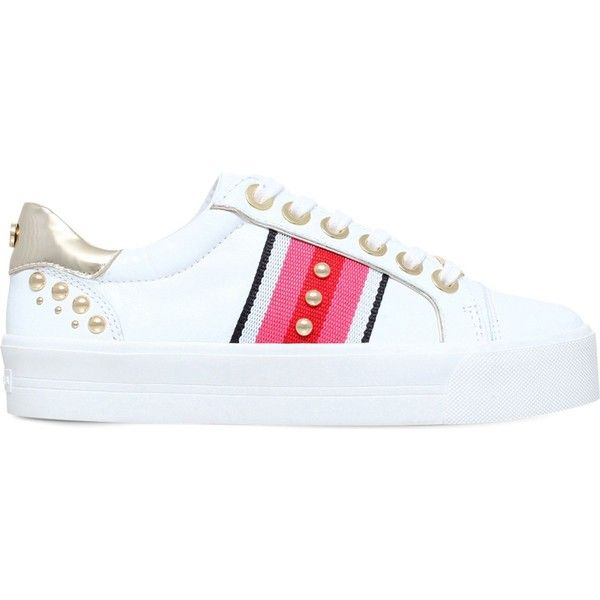 Carvela Lax embellished leather trainers ($150) ❤ liked on Polyvore featuring shoes, sneakers, embellished shoes, studded shoes, lace up sneakers, embellished sneakers and laced shoes