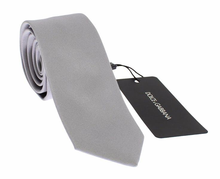 Silver Gray Solid Silk Slim Tie