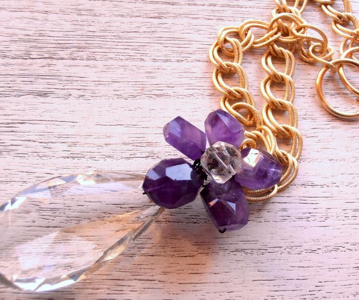 Exclusive pair of purple amethyst and vintage glass crystals decorative curtain tiebacks vintage crystal by MilanChicChandeliers on Etsy