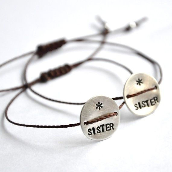 hand stamped sister bracelets, # jewelry
