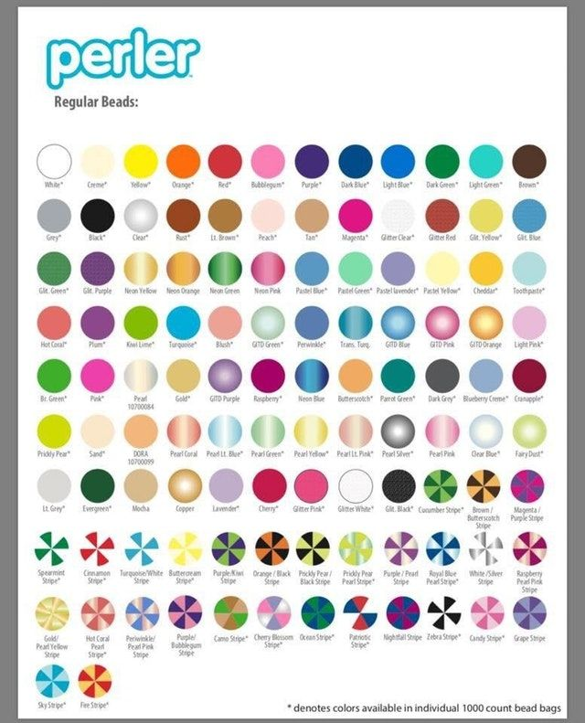 Newest list of colors from Perler  Dora and Mocha are