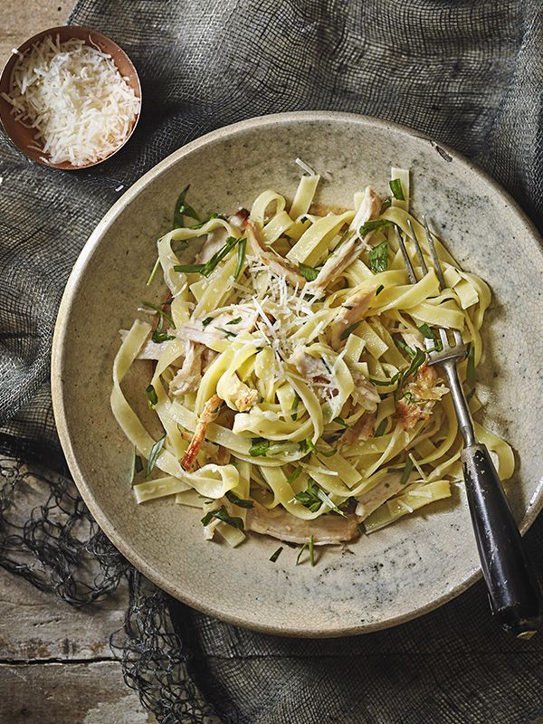 Tarragon and lemon roast chicken tagliatelle