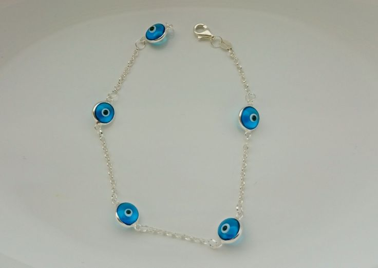 Glass Evil Eye Silver Bracelet by defneodemis on Etsy