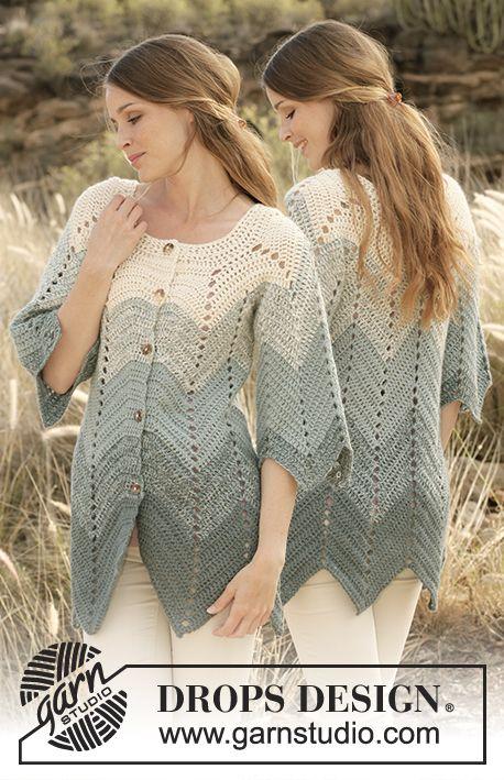 """Sea Waves / DROPS 147-10 - Crochet DROPS jacket with zig-zag pattern in 2 strands """"Alpaca"""". Size: S - XXXL. - Free pattern by DROPS Design"""