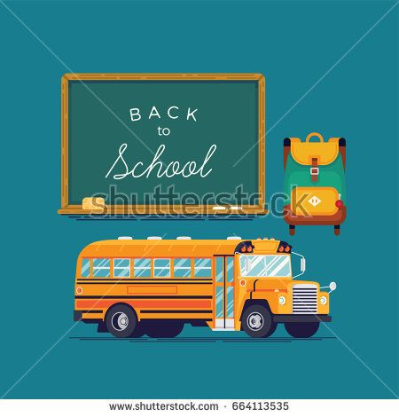 Creative vector school items: chalkboard with sample title, kids backpack and school bus in trendy flat design