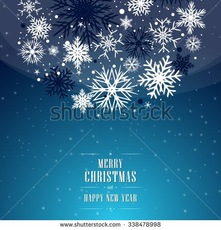 Christmas blue background with bubble, bulb, and with snowflakes. - stock vector
