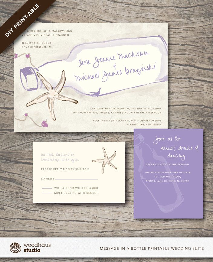 Message In A Bottle Starfish Wedding Suite - Invitation + RSVP Card + Accomodation Card - Customized Printable PDF by woodhausstudio on Etsy https://www.etsy.com/listing/164938748/message-in-a-bottle-starfish-wedding