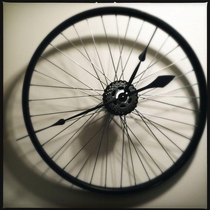 Bicycle Wheel Clock Bicycle Clock Bike Wall Clock Cycling Clock Cyclist Gift Recycled Bike Parts Old Bike Wheels by DreamGreatDreams on Etsy https://www.etsy.com/listing/202782315/bicycle-wheel-clock-bicycle-clock-bike