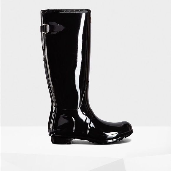 Hunter boots Tall teal hunter boots glossy worn twice Hunter Boots Shoes Winter & Rain Boots