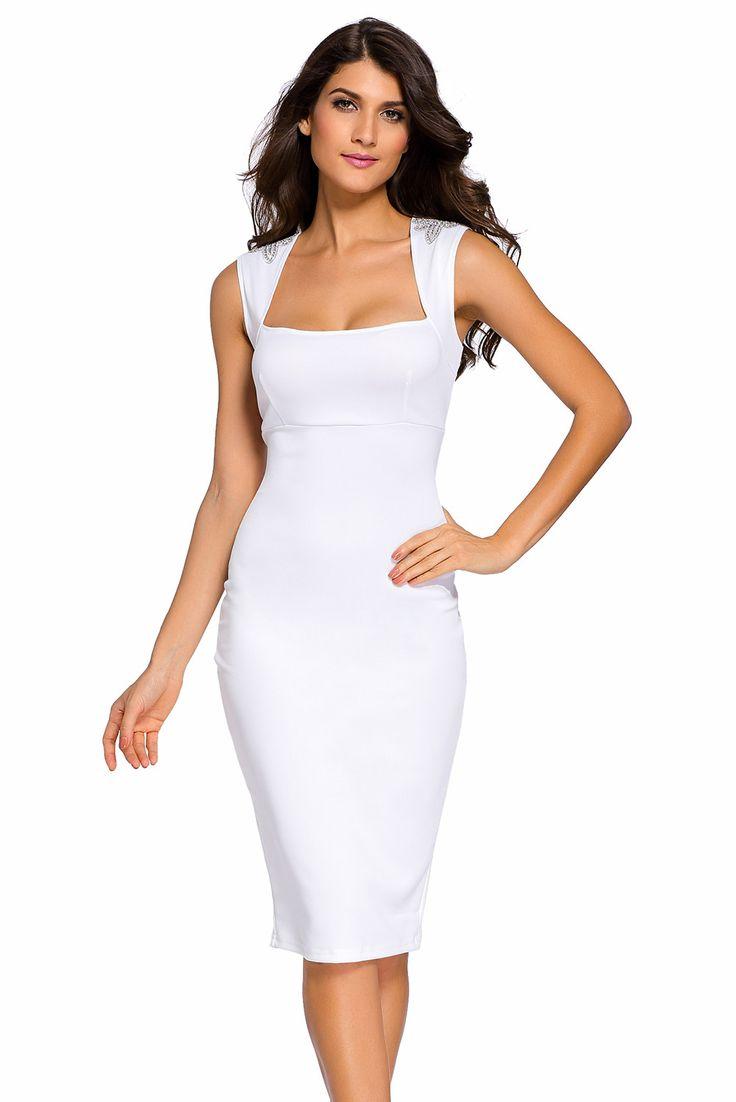 Midi Robes Blanc Jeweled epaule Robe Sans Manches Pas Cher www.modebuy.com @Modebuy #Modebuy #Blanc #me #dress