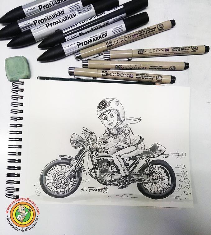 New #cartoon of #biker #girl riding her #caferacer #motorbike.