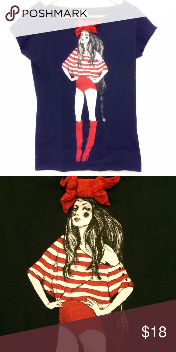 Zara Tshirt Zara dark blue Tshirt with girl graphic and red bow. Shirt fits slim and hangs slightly off shoulder. Never worn excellent condition. Size small Zara Tops Tees - Short Sleeve