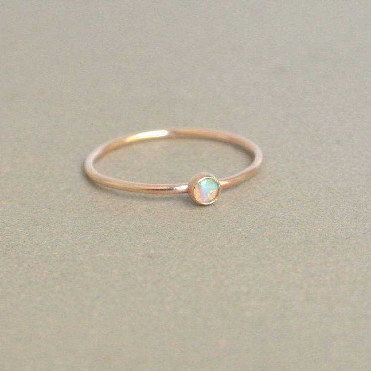 opal ring. gold opal ring. ONE delicate by MeadowbelleMarket, $29.00