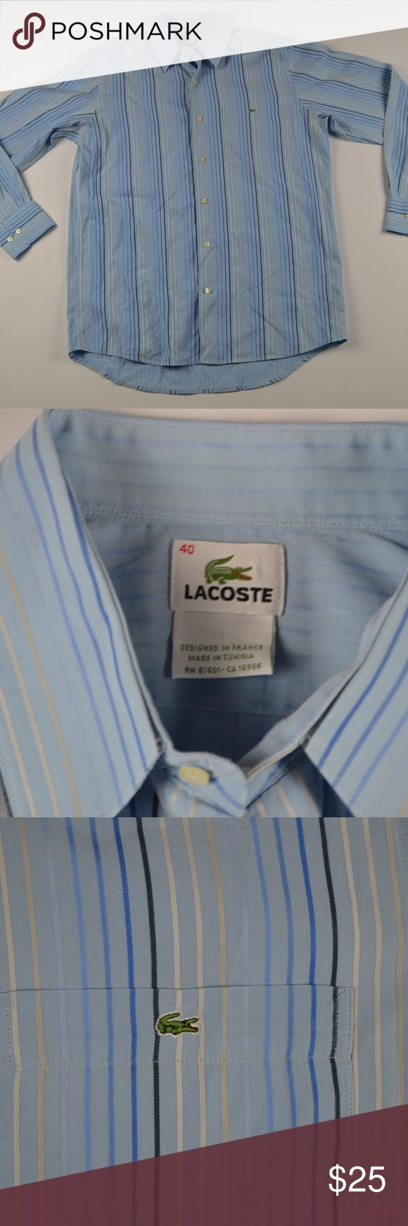 Lacoste Size 40 Blue Striped Dress Shirt Lacoste Dress Shirt  Excellent shirt  Comes from a smoke-free household  The size is 40 and the measurements are 21 inches pit to pit and 32 inches shoulder to base  Blue Striped  Cotton   Check out my other items for sale in my store!  A6 Lacoste Shirts Dress Shirts