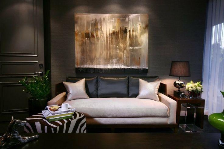 Designers Hunter & Barnes featured 3444 Manila Hemp Graphite in living room of residence.