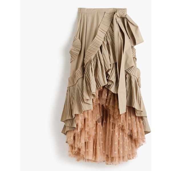 J.Crew Collection ruffle skirt in dark stone with floating dot tulle... ($995) ❤ liked on Polyvore featuring skirts, brown maxi skirt, pleated maxi skirt, long pleated skirt, tulle skirts and polka dot maxi skirt