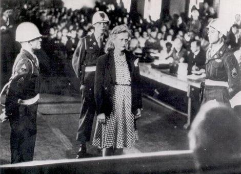 Ilse Koch on trial at Dachau for making human lamp shades at Buchenwald