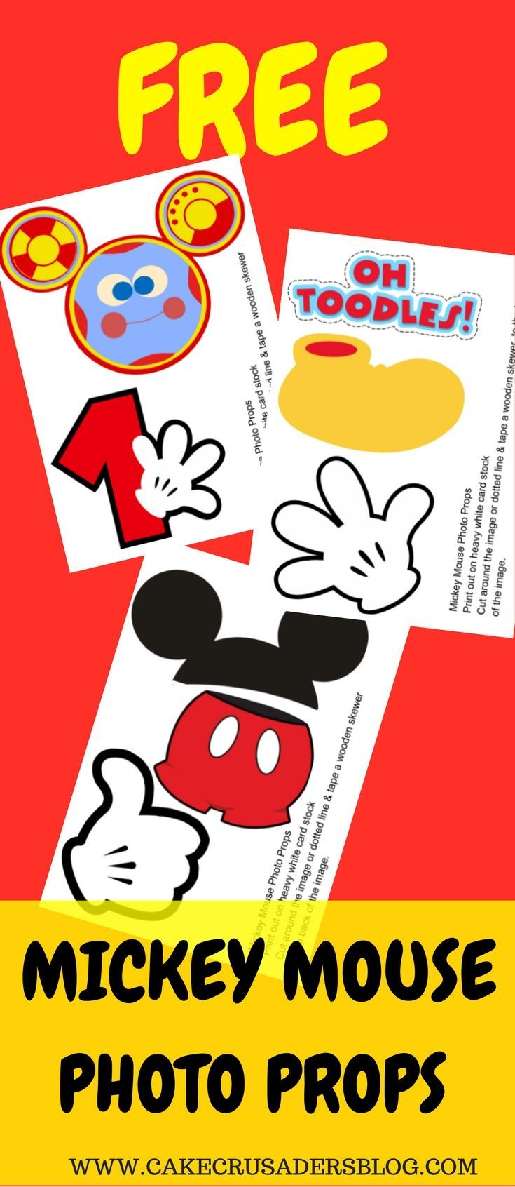Free Photo Props Mickey Mouse Printable Templates How To Make Mickey Mouse Birthday Theme Mickey Mouse Clubhouse Birthday Party Mickey Mouse Clubhouse Party