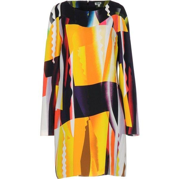 Kenzo Short Dress ($385) ❤ liked on Polyvore featuring dresses, yellow, yellow swing dress, longsleeve dress, long sleeve trapeze dress, mini dress and yellow dress