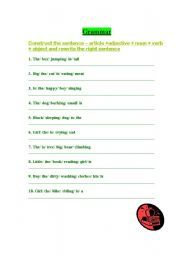English worksheet: sentence construction