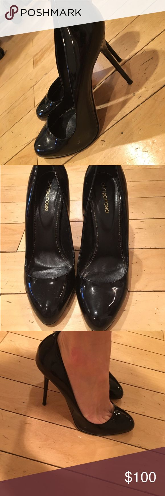 Sergio Rossi black patent leather pumps In good condition, classic black patent leather pump Sergio Rossi Shoes Heels