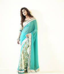 Multicolour embroidered georgette party wear saree with blouse