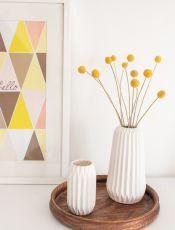 Vasen Set Aus Porzellan Im Geometrischen Plissee Look Als Deko Fr Das Wohnzimmer Skandinavischen Vintage