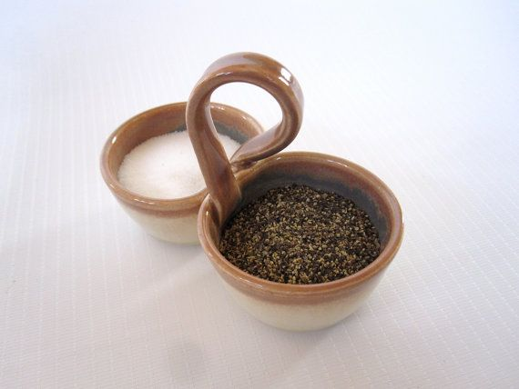 Pottery Salt and Pepper Pinch Pot with Handle by FringeandFettle