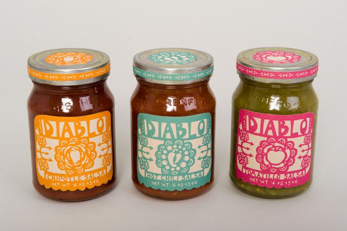 Packaging for a Spanish Food Line called Diablo. A Mexican papel-picado cut paper theme is carried throughout the project with color and imagery. Includes salsa label design for Tomatillo, Hot Chili, and Habenero Salsas, and packaging for both corn and wheat tortillas.