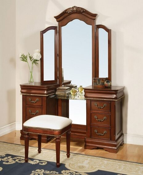 Awesome 3 Pc Classique Collection Cherry Brown Finish Wood Make Up Vanity Dressing  Table Set With Tri