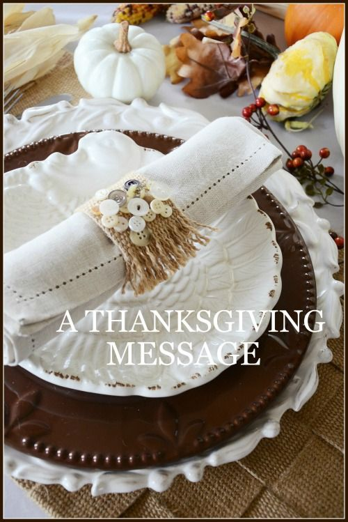 Love this tablescape - Stone Gable A THANKSGIVING MESSAGE-2015