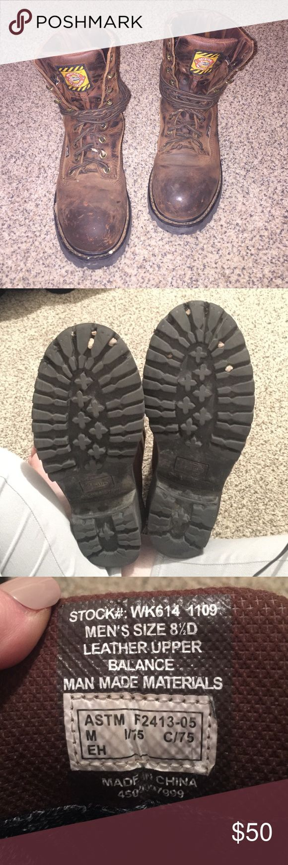 """Justin Work boots Mens """"logger"""" gore tex Justin work boots very used has scratches on both toe areas as well as the laces threading apart has two paint drops on the right shoe see last picture, bottoms though are in good used condition size mens 8 1/2D leather steal toe and oil resistant. Open to reasonable offers Justin Boots Shoes Boots"""