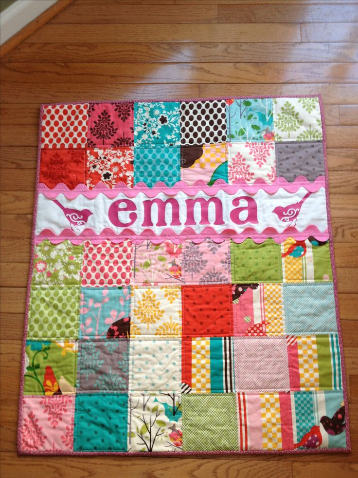 Baby quilt by @Cheri Edwards Edwards Edwards Love the ric rac trim.
