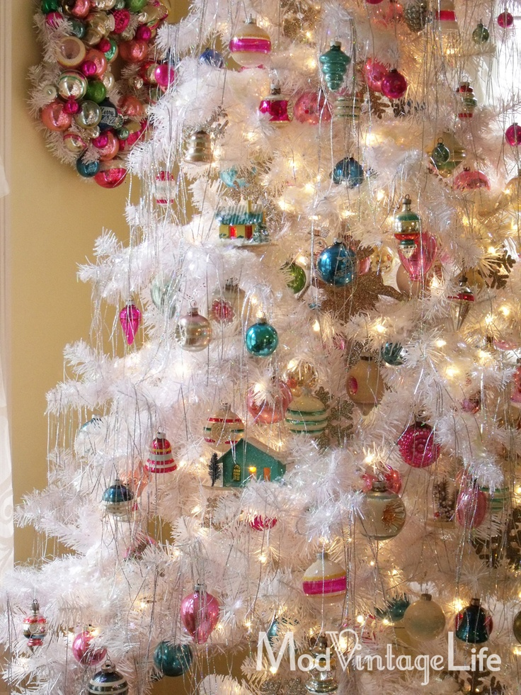Remember these Christmas trees? And tinsel too. Mod Vintage Life: Shiny Brite Ornaments