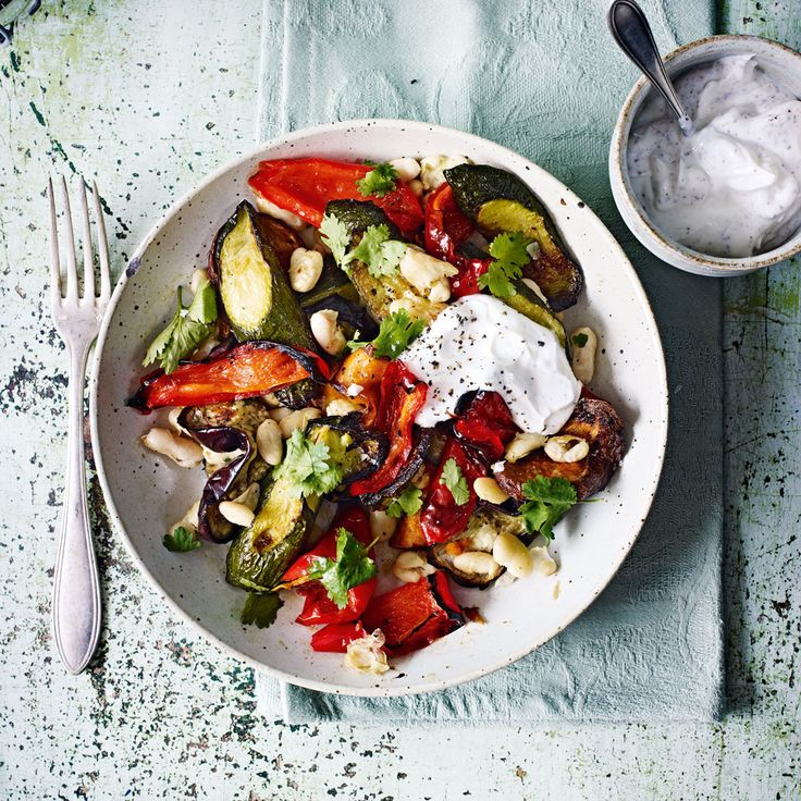 A variety of roasted vegetable salad recipe, tied together in a tangy yoghurt dressing