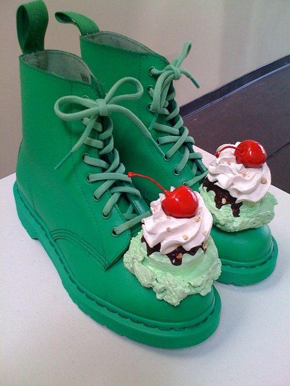 Rhonda Voos green pistachio ice cream shoes by icecreamshoes, $350.00  WTF: Doc Martens, Rhonda Voo, Doc Martin, Ice Cream Sundaes, Pistachios Ice Cream, Green Pistachios, Cream Shoes, Green Boots, Icecream