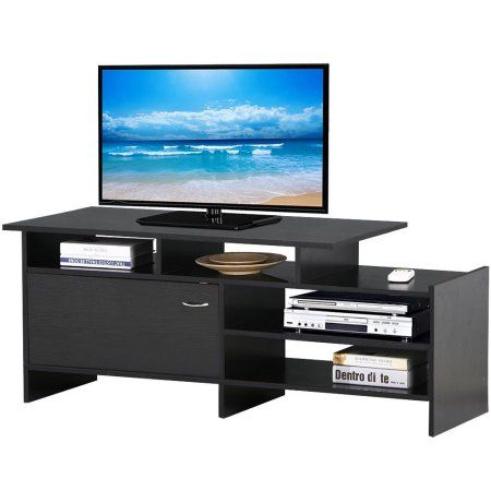 Yaheetech Black Wood TV Stand Console Table Home Entertainment Center  Cabinet For 50 Inch Flat Screen